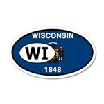 Wisconsin State Flag 35x21 Oval Wall Peel