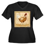 Golden Hen Women's Plus Size V-Neck Dark T-Shirt