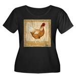 Golden Hen Women's Plus Size Scoop Neck Dark T-Shi