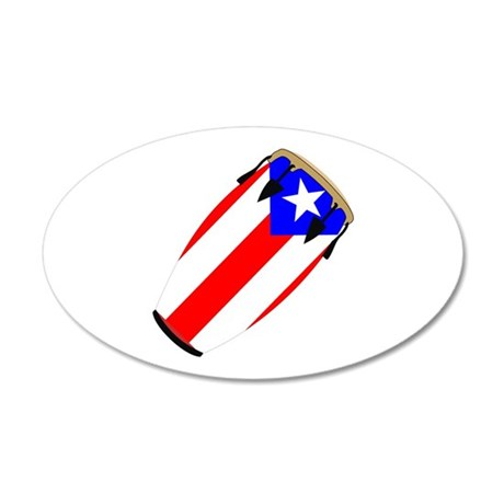 Conga Puerto Rico Flag 35x21 Oval Wall Peel