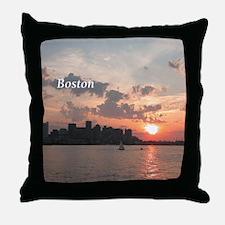 Sunset on Boston Skyline Throw Pillow