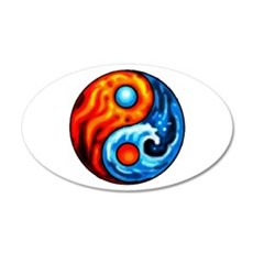 FIRE - WATER YIN - YANG 20x12 Oval Wall Peel