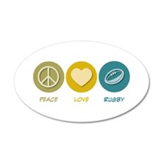 Peace Love Rugby 20x12 Oval Wall Peel
