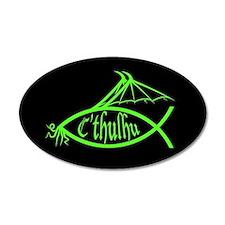 Cthulhu Fish (Green) 20x12 Oval Wall Peel
