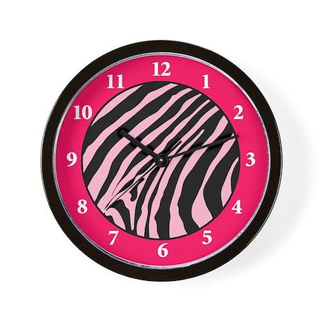 Pink Sassy Zebra Stripe Wall Clock
