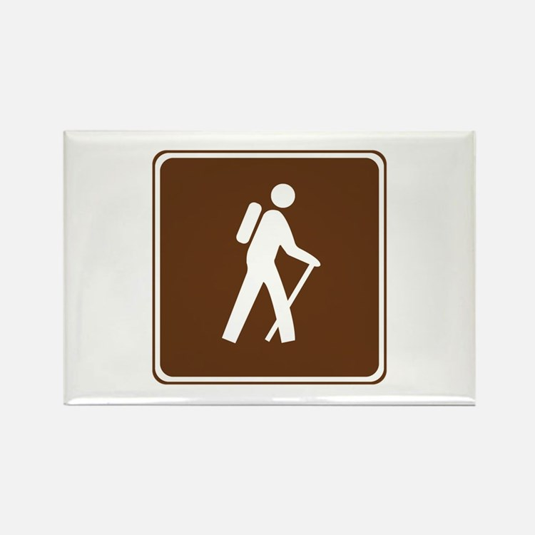 Hiking Trail Sign Rectangle Magnet