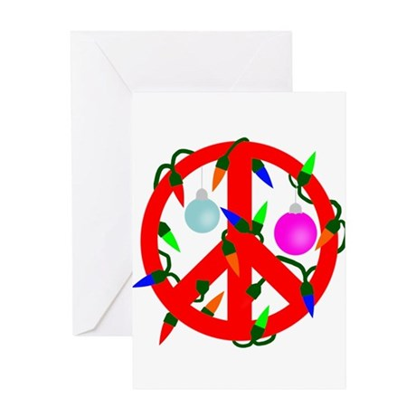 Peace For Christmas Red Greeting Card