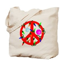 Peace For Christmas Red Tote Bag