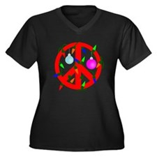 Peace For Christmas Red Women's Plus Size V-Neck D