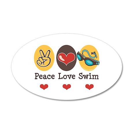 Peace Love Swim Swimmer 20x12 Oval Wall Peel