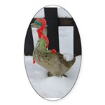 Christmas Goose with scarf and hat Sticker (Oval 5