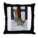 Christmas Goose with scarf and hat Throw Pillow