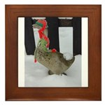 Christmas Goose with scarf and hat Framed Tile