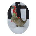 Christmas Goose with scarf and hat Ornament (Oval)