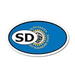 South Dakota State Flag 35x21 Oval Wall Peel