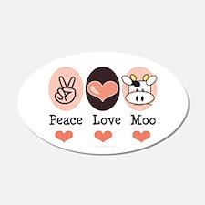 Peace Love Moo Cow 20x12 Oval Wall Peel