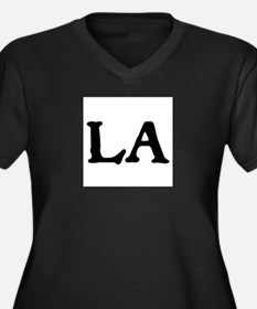 LA Women's Plus Size V-Neck Dark T-Shirt
