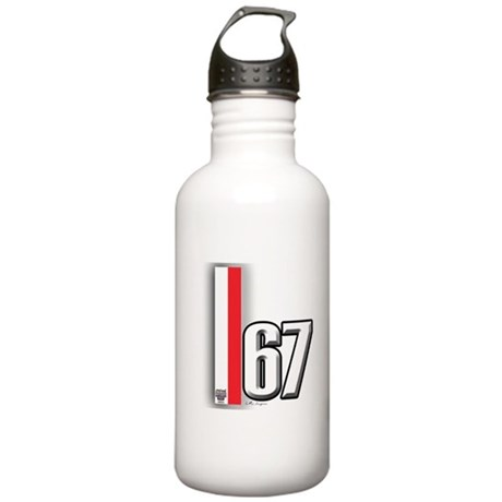 67 Red White Stainless Water Bottle 1.0L