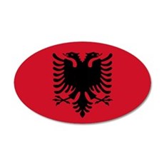 Albanian Flag 20x12 Oval Wall Peel
