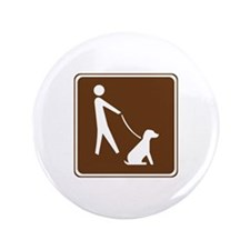"Pets On Leash Sign 3.5"" Button (100 pack)"