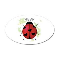 Heart Ladybug 20x12 Oval Wall Peel