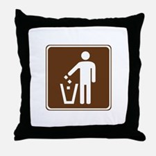 Litter Container Sign Throw Pillow