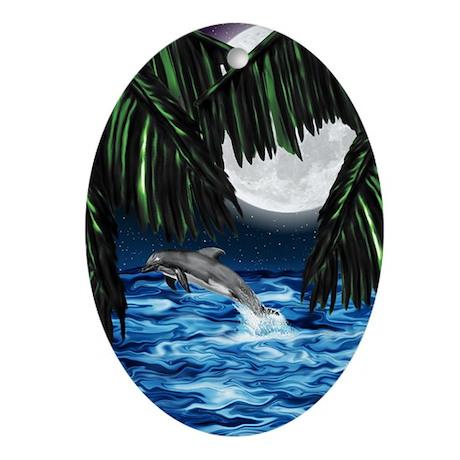 Moonlit Paradise Ornament (Oval)
