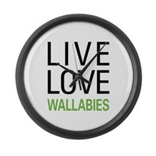 Live Love Wallabies Large Wall Clock