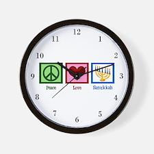 Peace Love Hanukkah Wall Clock