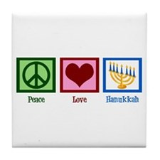 Peace Love Hanukkah Tile Coaster