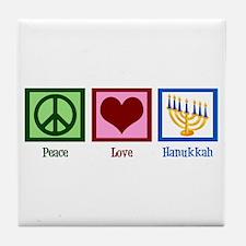 Peace Love Hanukkah Tile Coaster