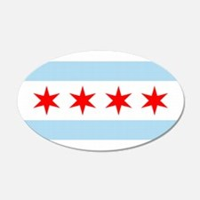 Chicago City Flag 20x12 Oval Wall Peel