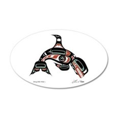 Diving Killer Whale 20x12 Oval Wall Peel