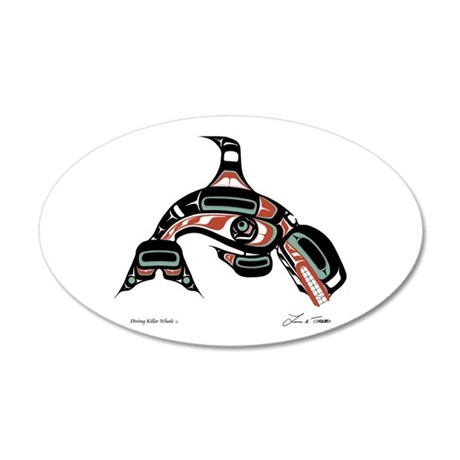 Diving Killer Whale 35x21 Oval Wall Peel