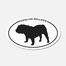 English Bulldog Silhouette 20x12 Oval Wall Peel