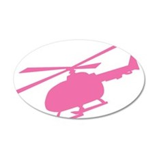 Pink Helicopter 20x12 Oval Wall Peel