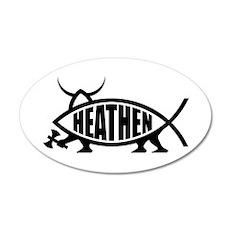 Heathen Fish 20x12 Oval Wall Peel