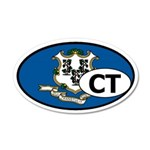Connecticut State Flag 35x21 Oval Wall Peel