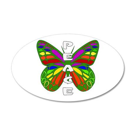 Peace Butterfly 35x21 Oval Wall Peel