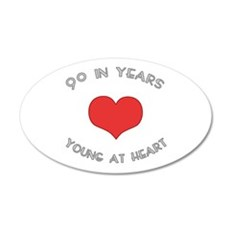 90 Young At Heart Birthday 20x12 Oval Wall Peel