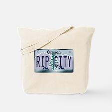 """RIP CITY"" Oregon License Plate Tote Bag"