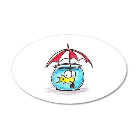fish and umbrella 35x21 Oval Wall Peel