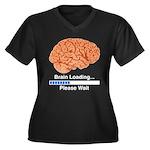 Brain Loading Women's Plus Size V-Neck Dark T-Shir