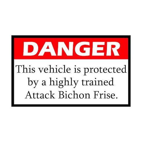 Danger Bichon Frise Sticker