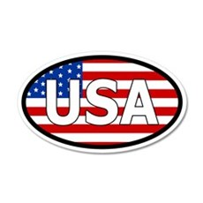 USA Flag 20x12 Oval Wall Peel with USA letters in