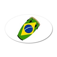 Conga Brazil Flag music 20x12 Oval Wall Peel