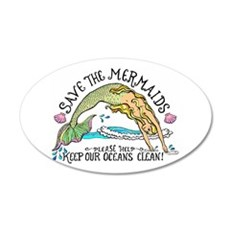 Save the Mermaids 20x12 Oval Wall Peel