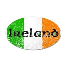 Ireland Flag Distressed Look 20x12 Oval Wall Peel