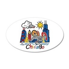 Kids CHICAGO 20x12 Oval Wall Peel