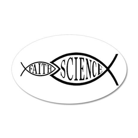 Science Trumps Faith 35x21 Oval Wall Peel